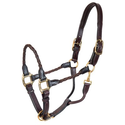 HORSE HAVANA BRAIDED LEATHER HALTER