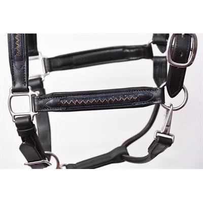 HORSE CHEVRON BLING BLACK PADDED HALTER W / STAINLESS STEEL HARDWARE