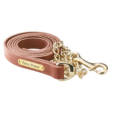 CHESTNUT LEATHER LEAD W / BRASS CHAIN & PLATE