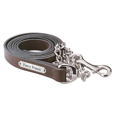 HAVANA LEATHER LEAD W / STAINLESS CHAIN & PLATE