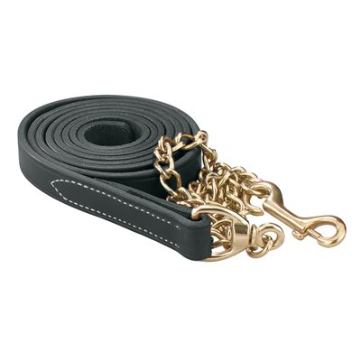 BLACK LEATHER LEAD W / SOLID BRASS CHAIN