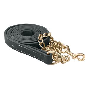 LEATHER LEAD W / SOLID BRASS CHAIN
