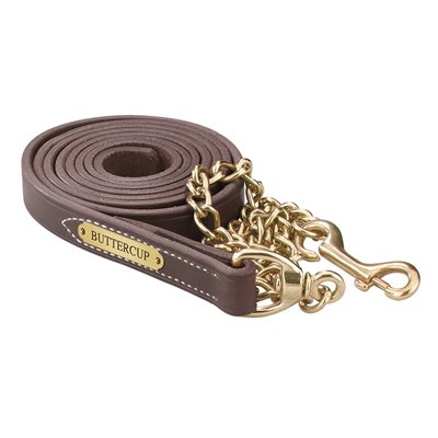 HAVANA LEATHER LEAD W / SOLID BRASS CHAIN & PLATE