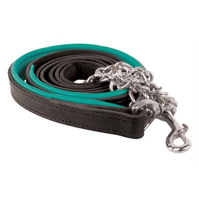 BLACK / TURQUOISE PADDED LEAD W / STAINLESS STEEL CHAIN