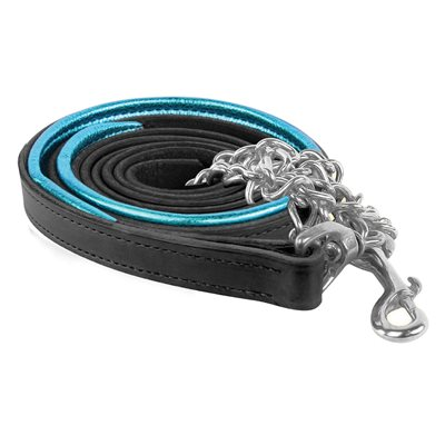 BLACK / TURQUOISE METALLIC PADDED LEAD W / STAINLESS STEEL CHAIN