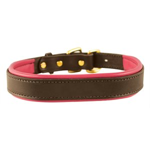 HAVANA / PINK EXTRA LARGE PADDED LEATHER DOG COLLAR