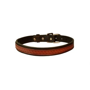LEATHER OVERLAY DOG COLLAR