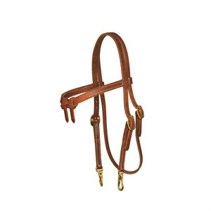 KNOTTED BROWN HEADSTALL WITH SNAPS - HORSE MEDIUM OIL