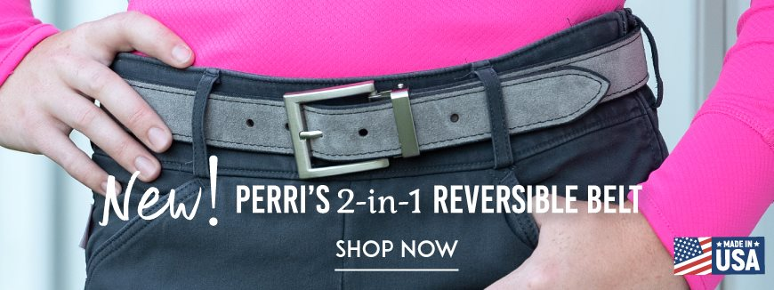 Gray suede belt on model with gray pants and pink shirt